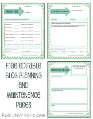 Free Editable Blog Planning, Ad, and Maintenance Pages | RealLifeAtHome.com
