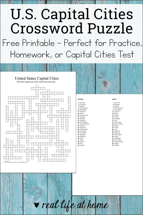 photo regarding States and Capitals Flash Cards Printable named United Suggests Place Capitals Crossword Puzzle - Absolutely free Printable