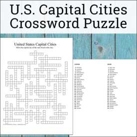 United States State Capitals Crossword Puzzle Printable