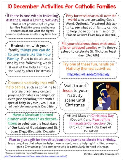 10 December Activities for Catholic Families Printable | reallifeathome.com