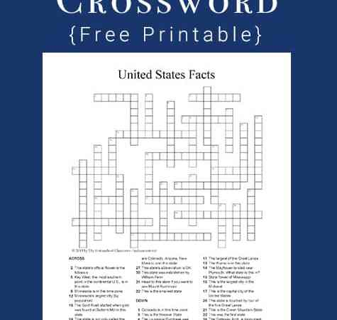 U.S. State Facts Crossword Puzzle Printable