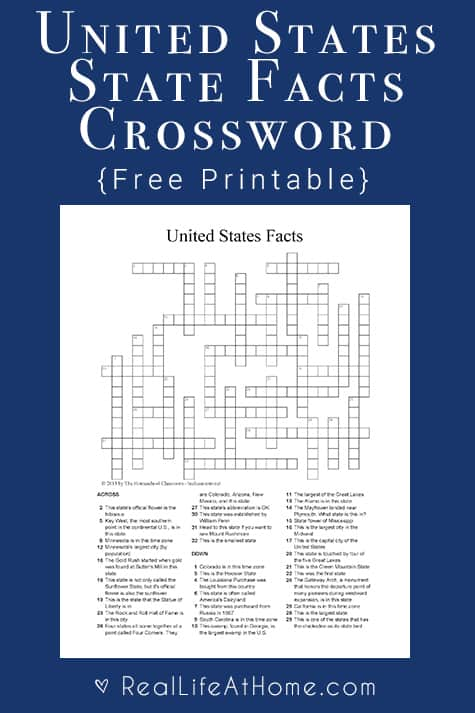 U s state facts crossword puzzle free social studies for Interesting facts of usa