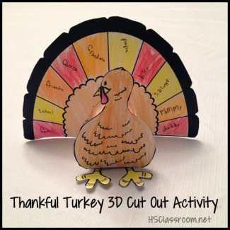 Thankful Thanksgiving Cut Out Turkey