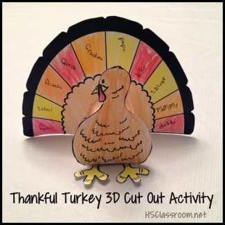Thankful Thanksgiving Cut Out Turkey