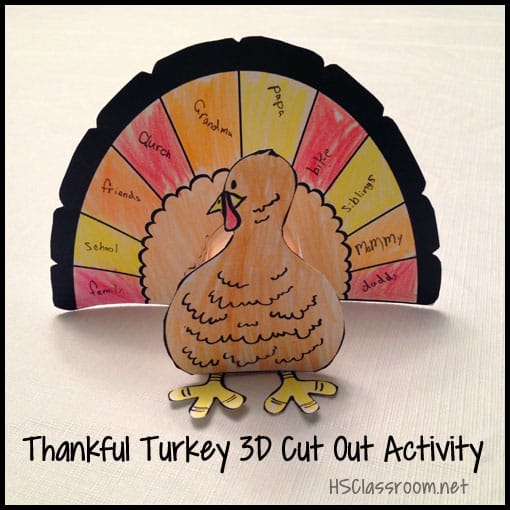 Thankful Turkey Cut Out Art Activity | reallifeathome.com