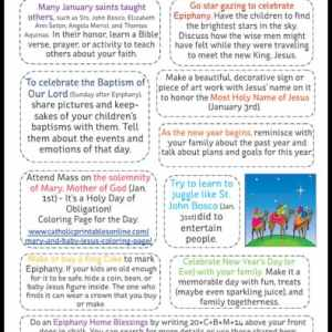 10 Activities for Catholic Families in January Printable Page