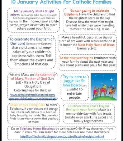 10 Activities for Catholic Families in January {Printable}