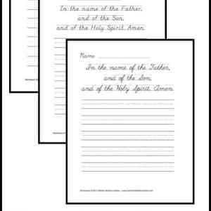 Sign of the Cross Copywork Printables | CatholicPrintablesOnline.com
