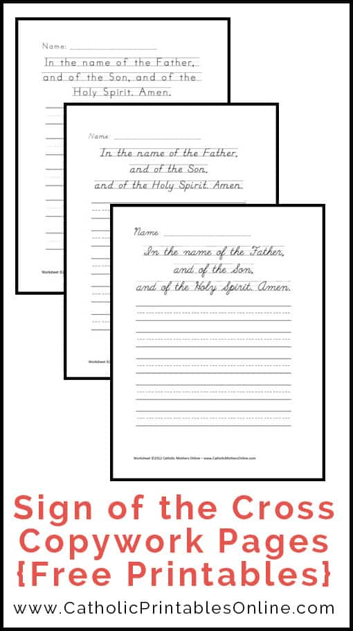 Sign of the Cross Prayer Copywork Printables | CatholicPrintablesOnline.com