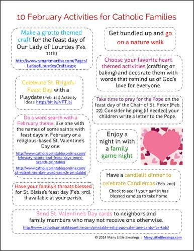 Catholic Family Activities in February