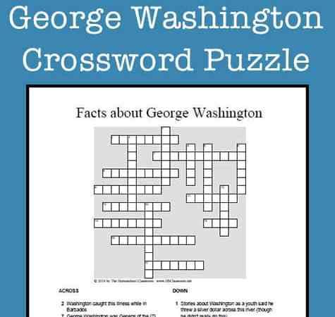 George Washington Crossword Puzzle Printable