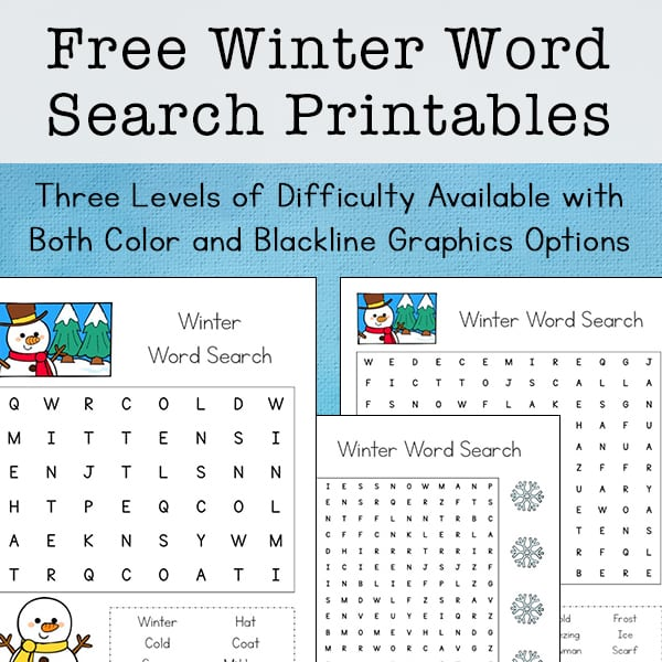 photo relating to Word Searches for Kindergarteners Printable named Absolutely free Winter season Phrase Glimpse Printable for Young children (with A few