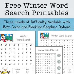 Free Winter Word Search Printable Set for Kids (with three levels of difficulty) | Real Life at Home