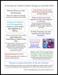 Lent and Holy Week Activities for Catholic Families - Free Printable