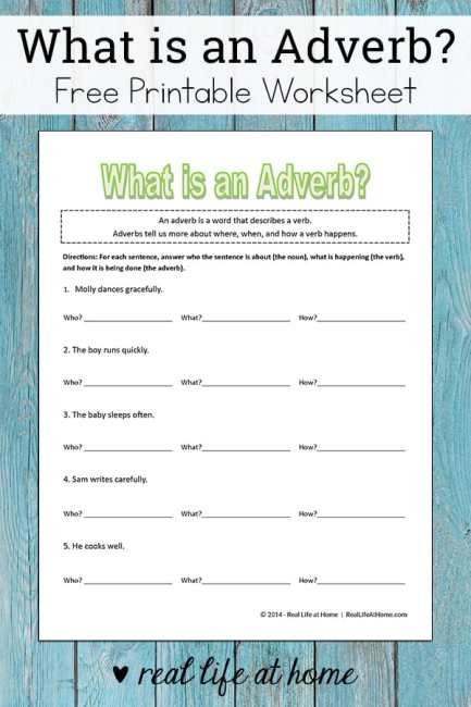 Free Adverb Worksheet for Kids: What is an Adverb? - This free worksheet is a great introduction to recognizing adverbs. | Real Life at Home