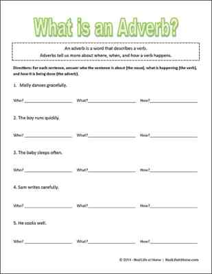 Sample of the What is an Adverb? free worksheet found on Real Life at Home