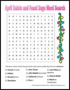 April Saints and Feast Day Word Search Printable