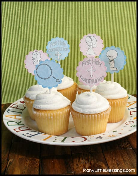 First Holy Communion Cupcake Toppers for Boys and Girls