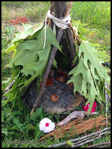Close up of teepee-style fairy house