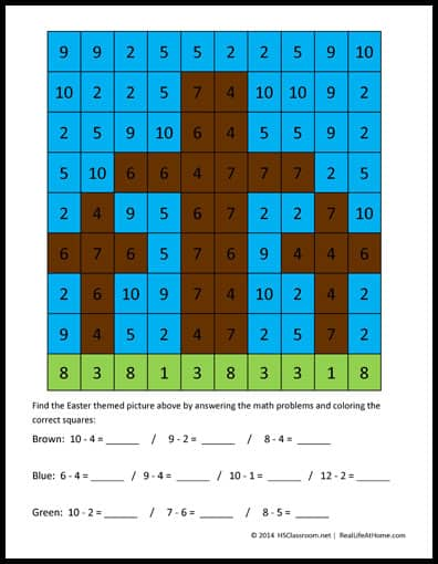Easter Math Activity: Crosses Mystery Picture Printables