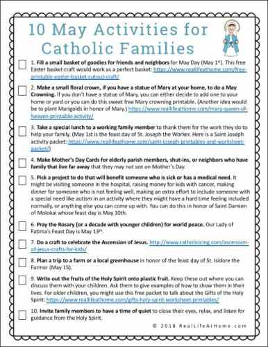 10 May Activities for Catholic Families Free Printable from Real Life at Home