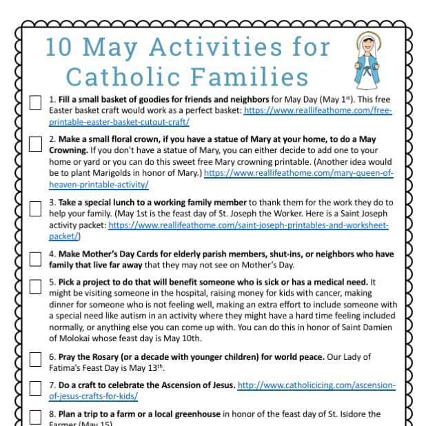 picture about How to Pray the Rosary for Kids Printable titled 10 Could Pursuits for Catholic Households Totally free Printable