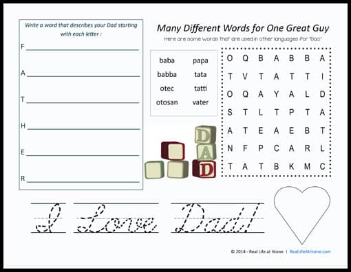 Father's Day Activity Placemat with Cursive