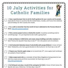 10 July Activities for Catholic Families {Free Printable}