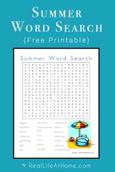 Looking for a fun summer printable? This summer themed word search is filled with words all about summertime fun. | Real Life at Home