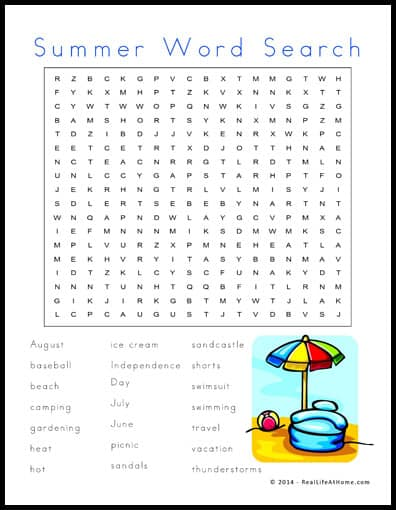 Summer Themed Word Search Printable