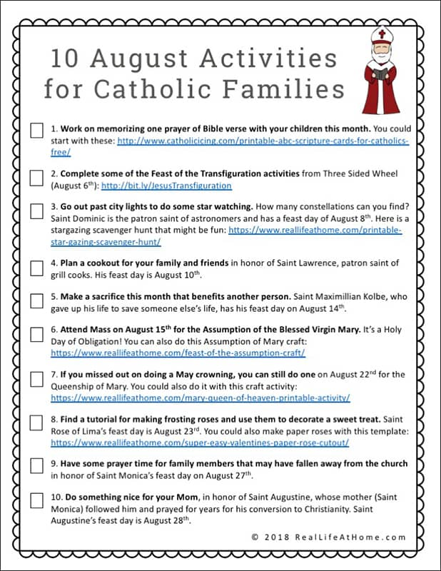 image relating to Free Printable Games for Adults identified as 10 August Functions for Catholic Family members Totally free Printable
