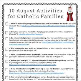 10 August Faith Formation Activities for Catholic Families {Free Printable}
