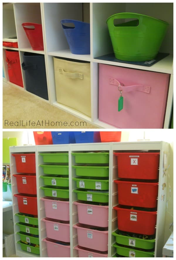 use bins to make manipulatives and school supplies more portable