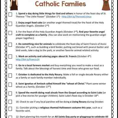 October Activities for Catholic Families Free Printable
