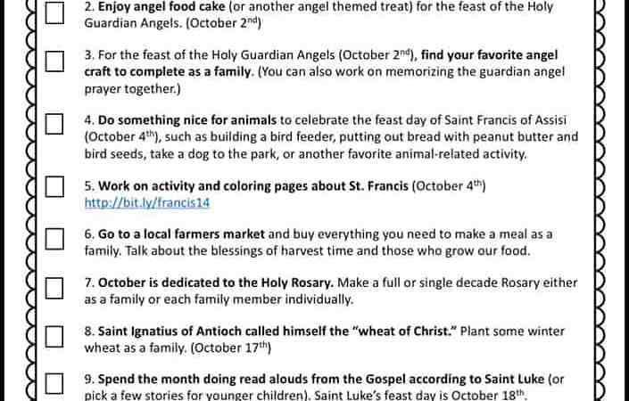 12 October Activities for Catholic Families Printable