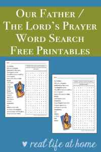 The Lord's Prayer / Our Father Word Search Printable available in two wording versions | Real Life at Home