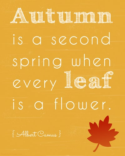 Autumn is a Second Spring Art Printable (in Gold)