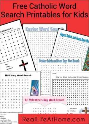 Free Catholic Word Search Printables for Kids | RealLifeAtHome.com