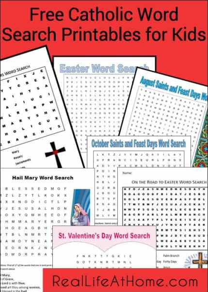 Free Catholic Word Search Printables for Kids | Real Life at Home