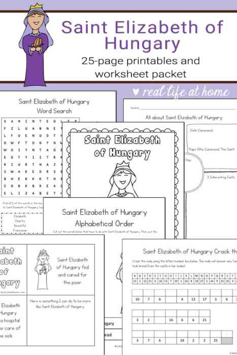 St. Elizabeth of Hungary printables and worksheets packet from Real Life at Home