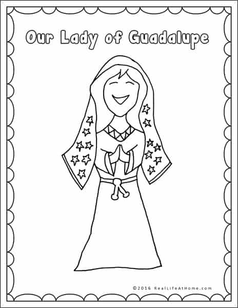 our lady of guadalupe coloring page part of the our lady of guadalupe and st