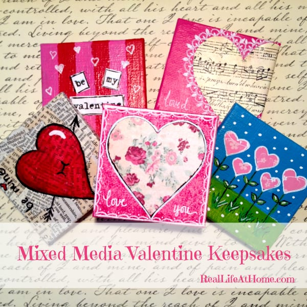 Mixed Media Valentine Keepsakes: Beautiful to keep for yourself or to give as a gift! These are a great project for adults and kids alike.