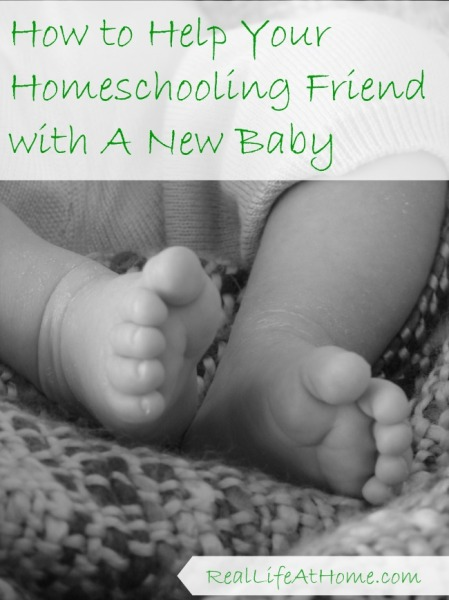 Have a homeschooling friend with a new baby? Help her out in these easy ways to help lighten her load!