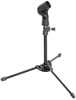 basic podcasting equipment: a microphone stand