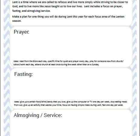 Planning for Lent: Free Lenten Printable Planning Pages