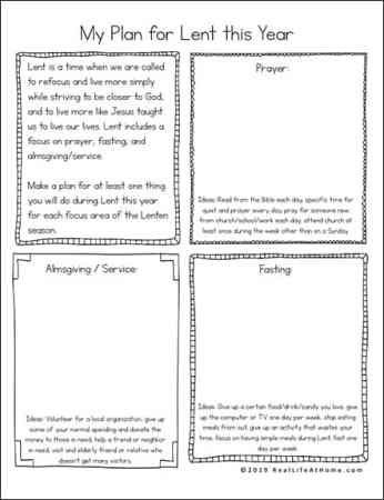 Lenten Planning Page - Plan out Your Lent Ideas for this Year