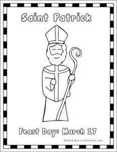Saint Patrick Coloring Page (from Saint Patrick Printables Packet on Real Life at Home)