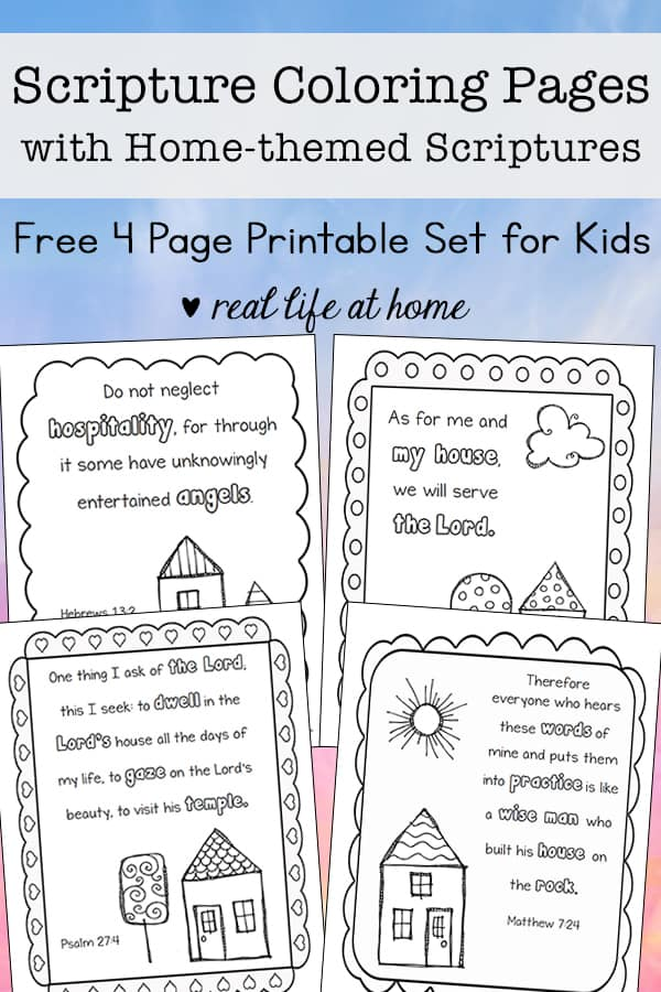 graphic about Free Printables for Home known as Dwelling-Themed Scripture Coloring Internet pages Totally free Printables