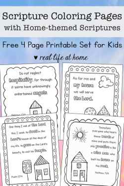 Free printable set of four home-themed Scripture coloring pages for kids (and adults)