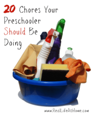 Preschoolers are capable of doing a lot to help around the house! Here are 20 chores they should be doing regularly.